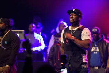 """50 Cent Holds Up """"R.I.P Meek Mill"""" Shirt At Oakland Concert"""
