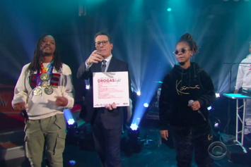 "Watch Lupe Fiasco & Gizzle Perform ""Jump"" On ""The Late Show With Stephen Colbert"""