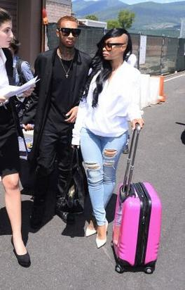 Tyga and Blac Chyna arrive in Florence