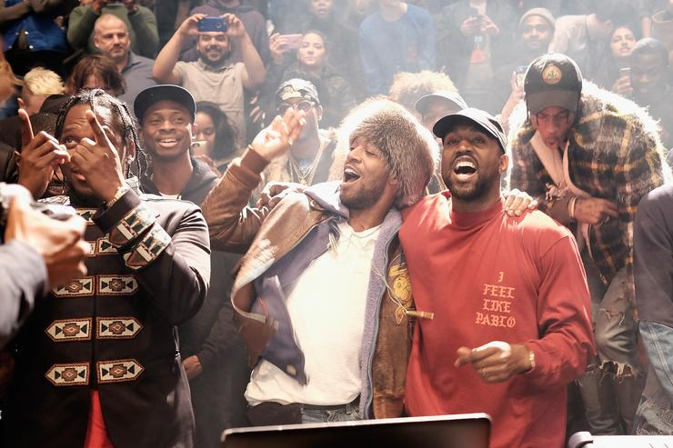 kanye west and kid cudi at yeezy season 3