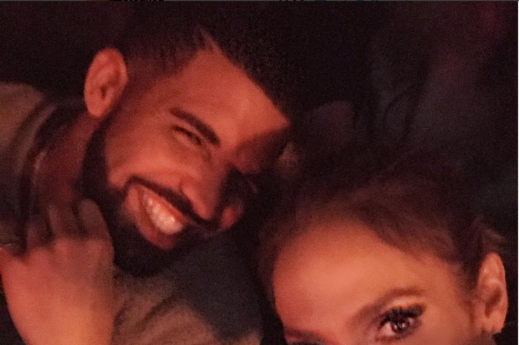 Drake and Jennifer Lopez in Vegas at Jennifer Lopez's show.
