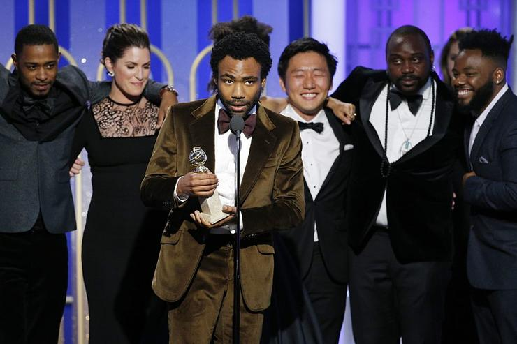 In this handout photo provided by NBCUniversal, creator, executive producer and actor Donald Glover accepts the award for Best Television Series - Musical or Comedy for the series 'Atlanta' during the 74th Annual Golden Globe Awards at The Beverly Hilton Hotel on January 8, 2017 in Beverly Hills, California.