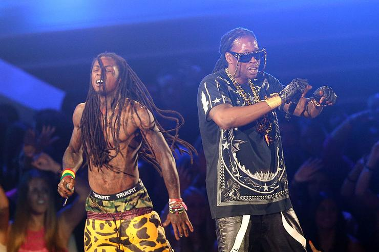 Lil Wayne and 2 Chainz perform onstage during the 2012 MTV Video Music Awards at Staples Center on September 6, 2012 in Los Angeles, California.