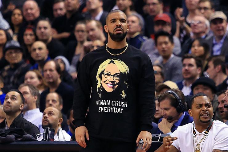 Drake looks on from his courtside seat during the second half of an NBA game between the Golden State Warriors and the Toronto Raptors at Air Canada Centre on November 16, 2016 in Toronto, Canada.