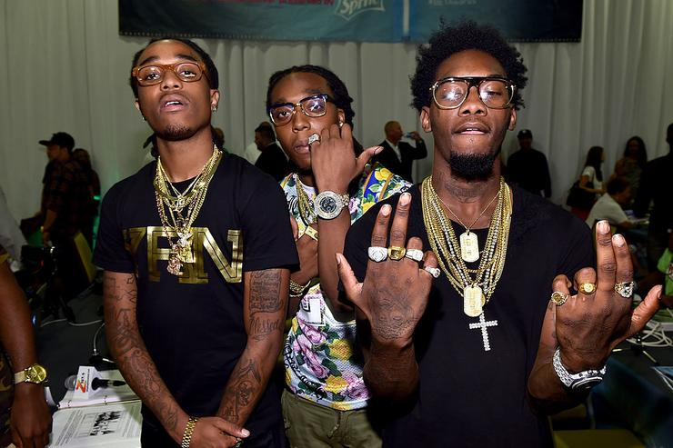 Migos attend day 1 of the Radio Broadcast Center during the BET Awards '14 on June 27, 2014 in Los Angeles, California.