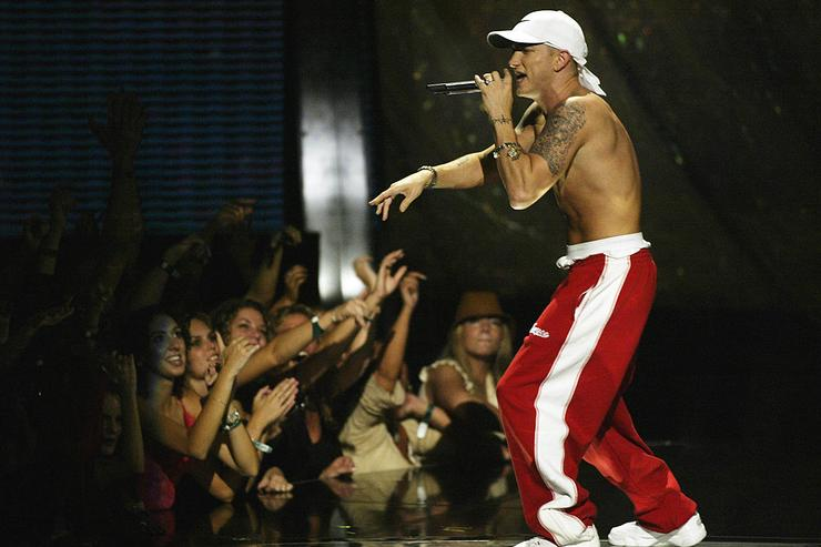 Eminem on stage at the 2002 MTV Video Music Awards at Radio City Music Hall in New York City, August 29, 2002.