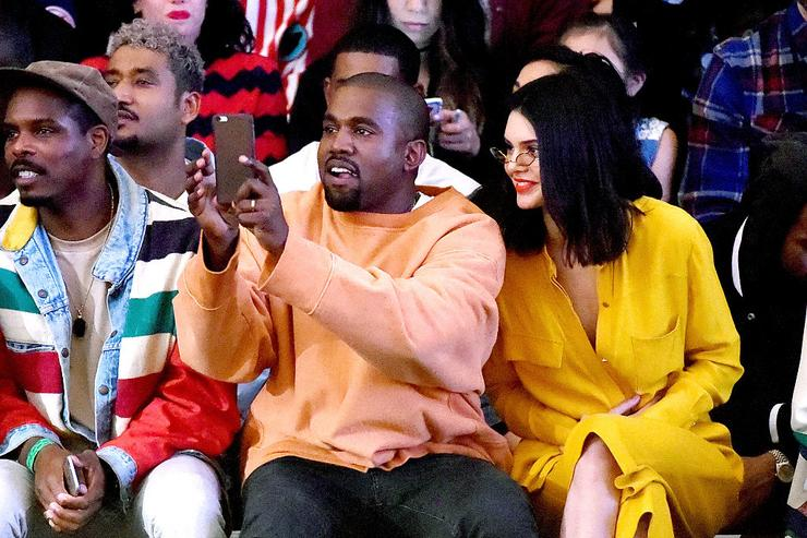 Kanye West (L) and model Kendall Jenner attend Tyler, the Creator's fashion show for Made LA at L.A. Live on June 11, 2016 in Los Angeles, California.