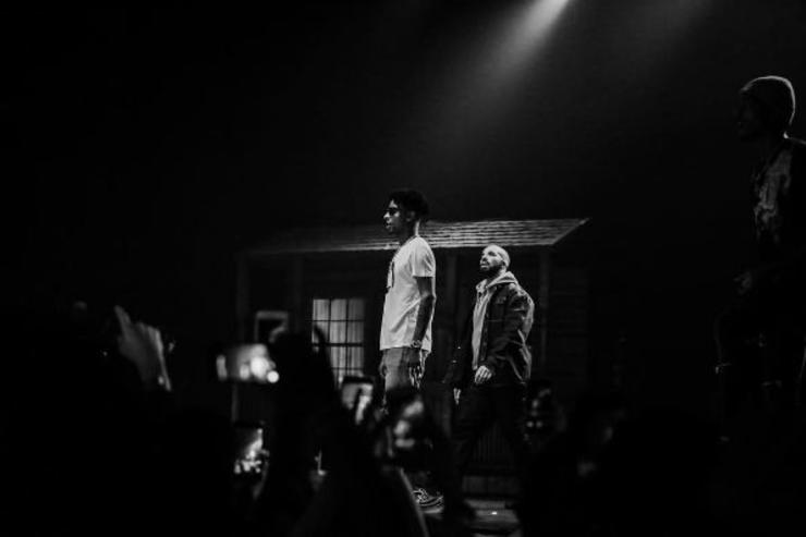 21 Savage and Drake perform in Los Angeles.