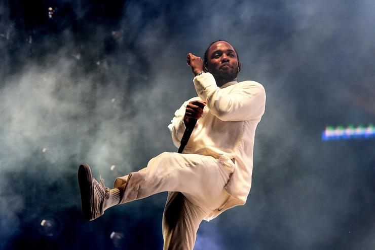 Kendrick Lamar performs on the Coachella Stage during day 3 of the Coachella Valley Music And Arts Festival (Weekend 1) at the Empire Polo Club on April 16, 2017 in Indio, California.