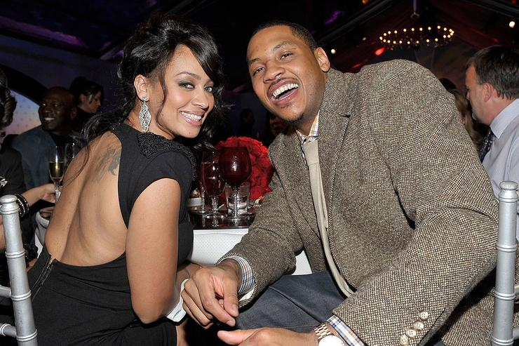 TV personality LaLa Vazquez (L) and NBA player Carmelo Anthony attend the Exclusive FABULOUS 23 Dinner hosted by Jordan Brand during All-Star Weekend on February 12, 2010 in Dallas, Texas.