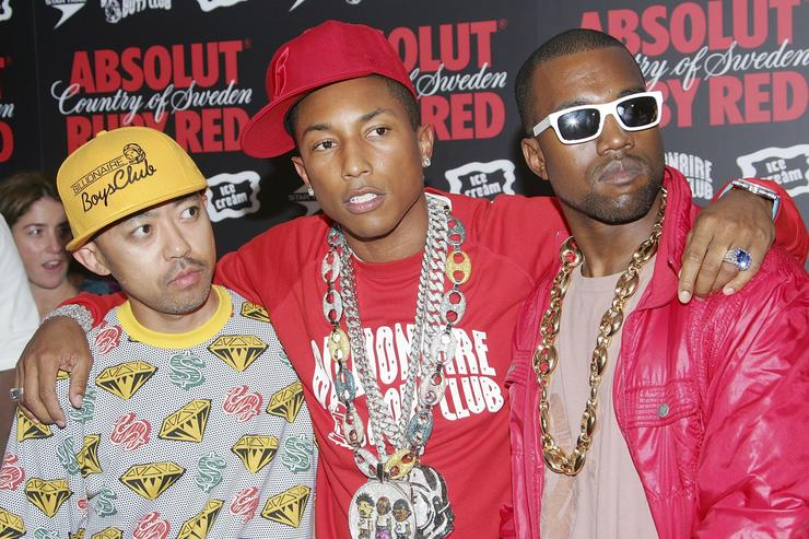 Nigo, Pharell, and Kanye at Absolut Ruby Red VMA Bash
