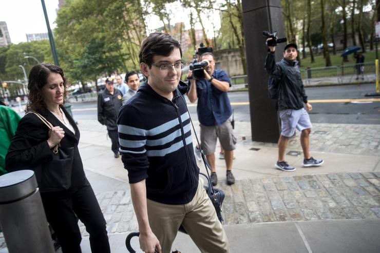 Former pharmaceutical executive Martin Shkreli arrives at the U.S. District Court for the Eastern District of New York, August 4, 2017 in the Brooklyn borough of New York City. Jurors are onto the fifth day of deliberations and have not reached a verdict. Shkreli faces eight counts of securities fraud and conspiracy to commit securities and wire fraud