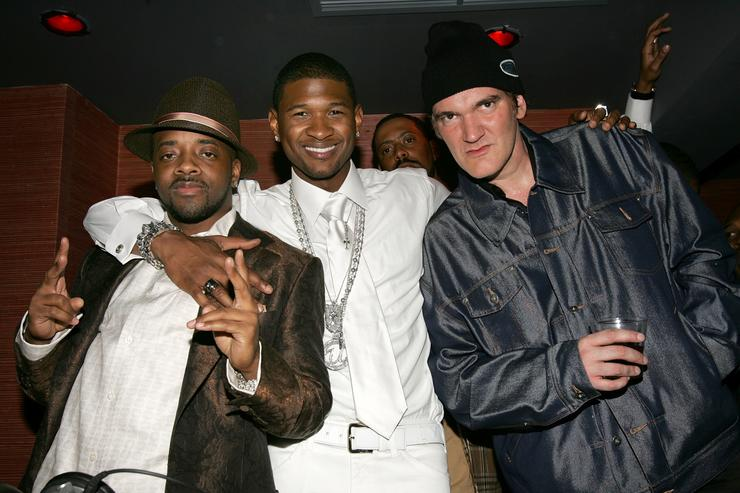 Jermaine Dupri, Usher and Quentin Tarantino attend Usher's Private Grammy Party hosted by Entertainment Weekly held at the Geisha House on February 13, 2005 in Hollywood, California.