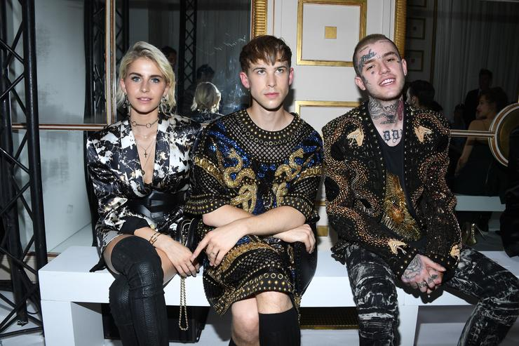 Caroline Daur,Tommy Dorfmann and Lil Peep attend the Balmain Menswear Spring/Summer 2018 show as part of Paris Fashion Week on June 24, 2017 in Paris, France.